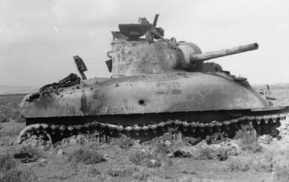 """Battle of Kasserine Pass, M-4 Sherman """"early"""" of the 1st"""